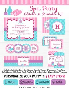 Spa Party Invitations, Birthday Invitations, Party Favors, Spa Party Decorations, Spa Birthday Parties, 7th Birthday, Girl Spa Party, Pamper Party, Tent Cards