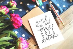 Set of Six One Boss Btch Greeting Card Hand-Lettered by BrimPapery