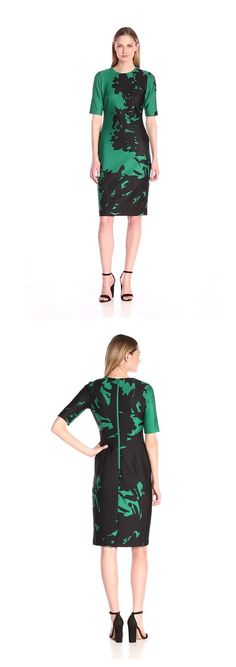 ANNE KLEIN WOMEN'S POSITIVE NEGATIVE PRINTED SCUBA SHEATH DRESS------------- Color:  Drake Green Combo 92% Polyester, 8% Elastane Sheath dress --------------- Elbow sleeve --------------- Elegant,Classy and Beautiful Dress ideal for Party, Casual ,Everyday and Work Wear during Summers/Spring of 2016 --------------- Designer --------------- Can be worn by teens and adults ---------------
