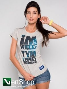 Koszulka damska DIAMANTE Im więcej tym lepiej (szara) cena:85.00 zł .