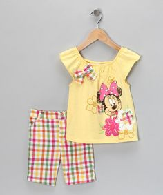 Take a look at this Yellow Minnie Mouse Top & Shorts - Toddler by Disney on #zulily today!