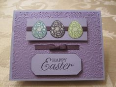 """Stampin' Up card made with """"Easter Blossoms"""" stamp set, Wisteria Wonder & Whisper White cardstock and inks and Elegant Eggplant ribbon. Handmade Card created by Brenda Montesano Independent Stampin' Up Demonstrator. Please visit my site at www.montesano.ca"""