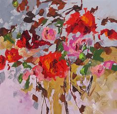 Original Abstract Floral Painting Fauve Flower by lindamonfort