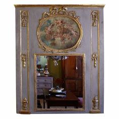 Louis XVI Period Trumeau with Putti Painting | From a unique collection of antique and modern trumeau mirrors at https://www.1stdibs.com/furniture/mirrors/trumeau-mirrors/