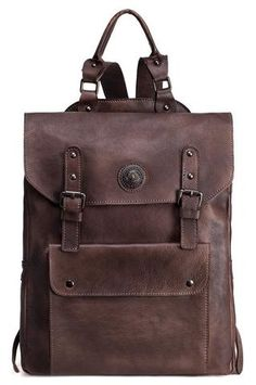 Moshi Brown Leather Squared Travel Backpack – Men s Premier Bags Cowhide  Leather fd185f17c4e15