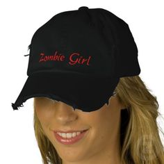 Zombie Girl Embroidered Fantasy Cap / Hat