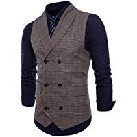 84d8b2fc5e0 COOFANDY Men s Plaid Slim Fit Double Breasted Dress Suit Button Down Vest  Waistcoat at Amazon Men s Clothing store
