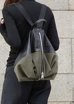 Купить Рюкзак Khaki Green - комбинированный, рюкзак, рюкзак женский, рюкзак ручной работы