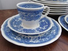 Set of 6 VILLEROY & BOCH 'Burgenland' Blue and by ArmoireAncienne