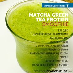 Matcha Green tea powder is very healthy and great for baking or making lattes and smoothies. This matcha green tea smoothie recipe is easy and refreshing, check it out. Protein Smoothies, Tea Smoothies, Smoothie Drinks, Green Smoothies, Breakfast Smoothies, Smoothie Detox, Matcha Green Tea Smoothie, Matcha Drink, Matcha Green Tea Powder
