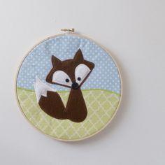 "Fox Nursery Decor - 8"" Appliqued Nursery Art. $20.00, via Etsy."