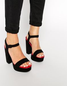 Pink | New Look Ripple Black & Pink Platform Heeled Sandals at ASOS