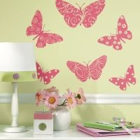 Roommates muursticker vlinders velours neon roze