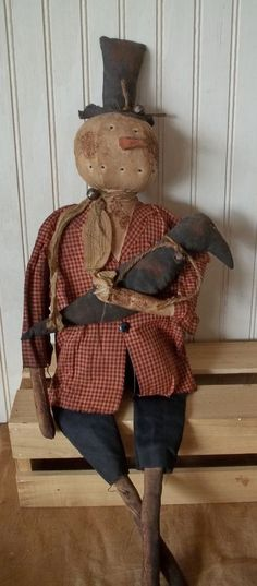 Primitive Grungy Snowman Christmas Doll & His Crow #NaivePrimitive