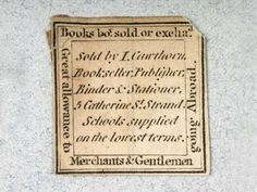 Two labels of I. Cawthorn, bookseller, publisher, bookbinder and stationer.    Production Date:  1751-1800