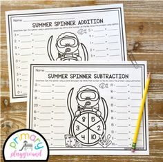 Summer Spinner Math Addition and Subtraction by Primary Playground