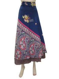Amazon.com: Indian Wraparound Skirt Hippie Boho Vintage Silk Sari Wrap Skirt Dress: Clothing