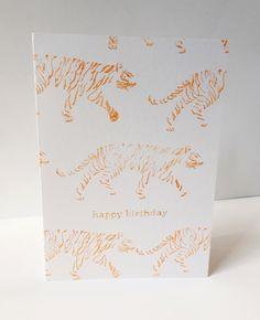 striding tigers happy birthday card by maria nilsson