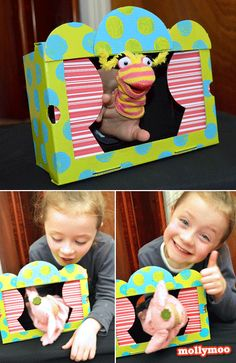 SHOE BOX FINGER PUPPET THEATER - spare a thought for all those discarded shoe boxes. They can be useful, they want to be useful – and rather than just leaving Molly's behind us in the shop this year or using it for organising Polly Pocket outfits I decided to give a shoe box a chance, a chance at a bright new future, a chance to be a star!!..... all the step by step photos are here on http://mollymoo.ie/2012/09/shoe-box-puppet-theatre/