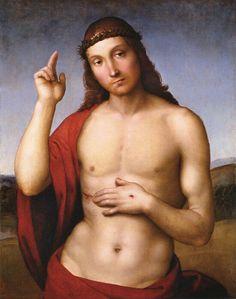 RAFFAELLO Sanzio: Christ Blessing (Pax Vobiscum), 1505-06, Oil on panel, 32 x 25 cm, Pinacoteca Tosio Martinengo, Brescia