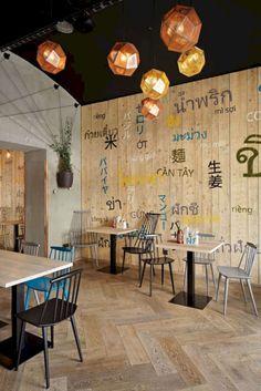15 Stylish Interior Design Ideas for Thai Restaurant - my tea cafe shop - Decoration Restaurant, Restaurant Interior Design, Modern Interior Design, Stylish Interior, Thai Restaurant, Restaurant Tables, Fast Food Restaurant, Thai Cafe, Noodle Bar