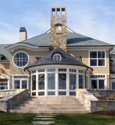 Gorgeous lake home using varying styles of Pella windows and doors.