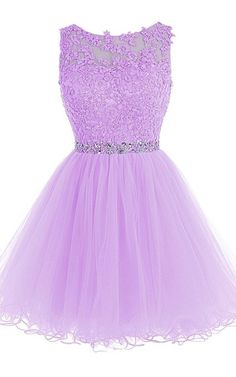 A Line Cap Sleeve Beading Lace Crystal Appliques Sleeveless Tulle Mini Lilac Shot Homecoming Dress