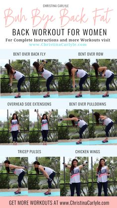 Insecure about your back? Try the Best Exercises for Back Fat. When combined together into a workout, they burn fat and tighten and tone the back quickly. This workout kicks off a new series of… Back Workout Women, Back Fat Workout, Fat Burning Workout, Lazy Girl Workout, Tummy Workout, Good Back Workouts, At Home Workouts, Back Exercises For Women, Back Fat Exercises At Home