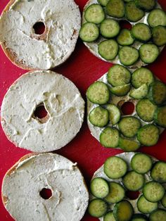 Cucumber Bagel Sandwiches Thank you Steph and Joppe for this idea!!! So good!!!