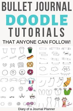 Ultimate List of Bullet Journal Doodles - 50 FREE Step-by-step Instructions - A. - Ultimate List of Bullet Journal Doodles – 50 FREE Step-by-step Instructions – Amazing bullet j - Doodle Bullet Journal, How To Bullet Journal, Bullet Journal Ideas Pages, Bullet Journal Inspo, Journal Pages, Bullet Journals, Bullet Journal Decoration, Bullet Journal Reading List, Bullet Journal Project Planning