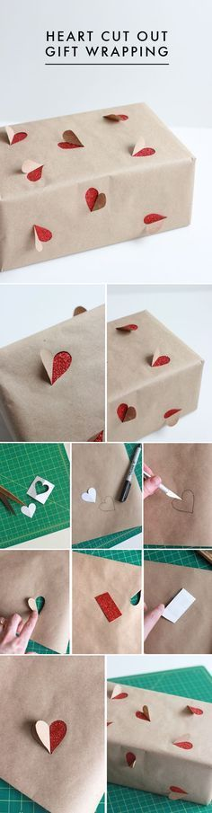 I LOVE THIS. And it's so bloody simple! Heart Cut Out Gift Wrapping. #diy #gift: #giftwrapping