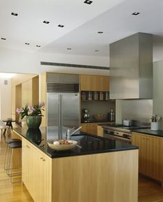 Garden: Modern Minimalist Kitchen Single House Design With Wooden Cabinet And Stainless Steel Refrigerator Plus Island With Marble Countertop Table And Black Leather Bar Stools Ideas