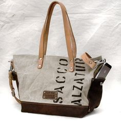 Italian Duffle Bag Canvas Tote // Recycled and by peace4youBAGS