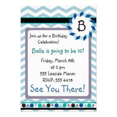 Cheveron Monogram Card with blue, teal, gray