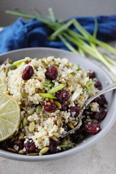 This Quinoa recipe is perfect for Thanksgiving Side Dish. It has Dried Cranberry and toasted Pumpkin Seed for crunch. The dressing is consist of Key Lime Juice, Sesame oil and a bit of Honey and the Green Onion will hold all the flavors together and give out a very subtle tangy aroma. I looooove it!