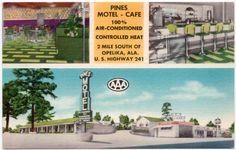 Linen Postcard Pines Motel & Cafe in Opelika, Alabama~107031