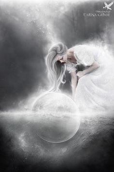 Why Would I need the world. by Aelathen on DeviantArt Goddess Tattoo, Goddess Art, Moon Goddess, White Art, Black And White, Legend Stories, Dream Book, Moon Magic, Tumblr