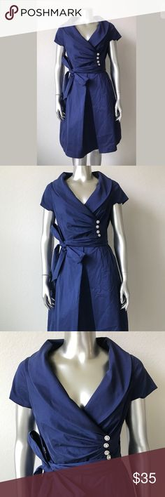 Mother of the Bride Short Dress Evening Dress Navy Mother of the Bride Short Cocktail Dress Evening Dress Shawl Collar Navy Blue 12 Petite  INNER TAG IS MISSING (CAME FROM A BIG RETAILER BRIDAL STORE), ZIPPER GOT CAUGHT IN THE INNER LINING SO THERE IS A SNAG LOCATED INSIDE THE DRESS (CANNOT BE SEEN WHEN WORN). BELT LOOP NEEDS TO BE SNIPPED. OVERALL GORGEOUS DRESS WITH SLIGHT IMPERFECTIONS! NEEDS TO BE IRONED. PRICED TO SELL. RETAIL NEARLY $250!   SEE PHOTOS. IT'S A GORGEOUS DRESS! LOVE THE…