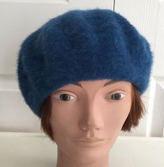 80s Blue angora wool lined beret women hat large 11 inches Beatnik Look d3d0673bff4f