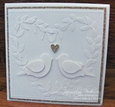 Stampin-up-bird-punch-  I like the white on white the best of all the versions.  Would be pretty for wedding or anniversary card.
