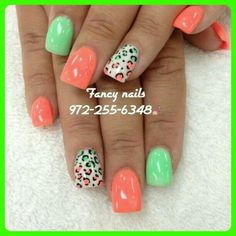 i luv doing leopard nails and ombre together Super Cute Nails, Pretty Nails, Spring Nails, Summer Nails, Leopard Nails, Hot Nails, Sexy Nails, Finger, Cute Nail Art