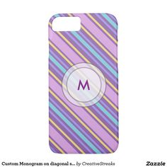 Custom Monogram on diagonal stripes Barely There iPhone7Case