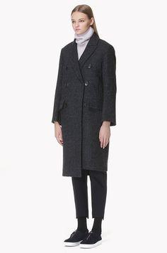 Wool blend herringbone oversized coat