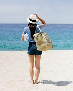 A roomy canvas bag for summer getaways.