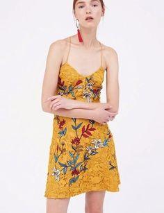 Runway Fashion Elegant Lace Florals Shouder Straps Dres