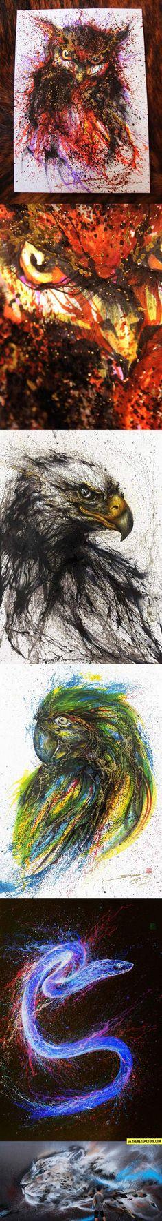 Amazing ink splatter paintings…