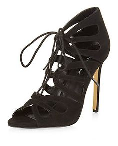 Black Cut Out Lace Up Heels  | New Look