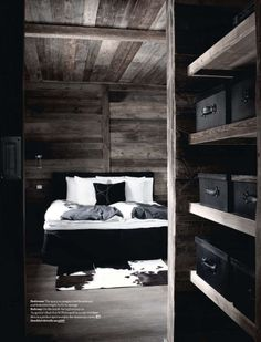 Cozy dark bedroom in French Chalet via Elle Decoration UK and http://blissfulbblog.com/blog/2012/11/16/my-happy-place.html