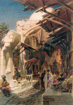 Street scene, near the Damascus gate, bab el 3amud, jerusalem - Carl Haag (bavarian-british, 1820-1915)