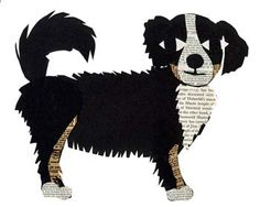 Bernese mountain dog art piece made with vintage papers.